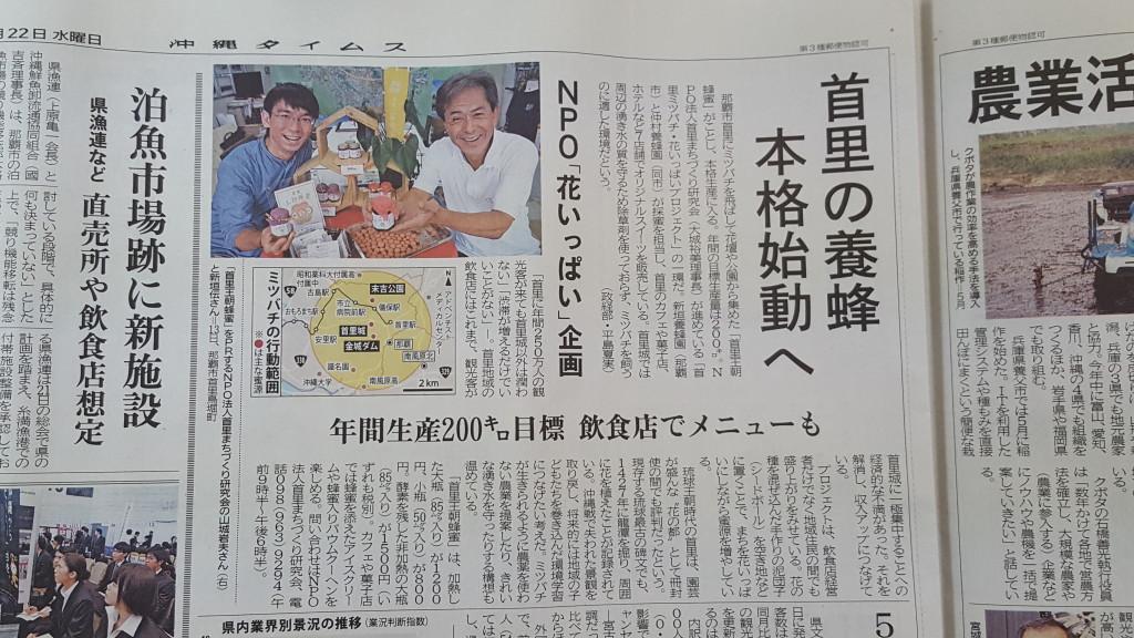 沖縄タイムスに掲載されました(2016年6月22日紙面)